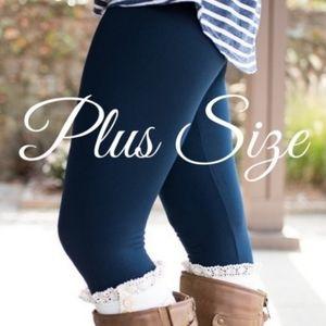 Fleece Lined Plus Size Navy Leggings